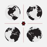 Set of dotted world maps in different resolution Royalty Free Stock Photo