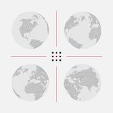 Set of dotted world maps in different resolution. Set of dotted world maps. Vector illustration Royalty Free Stock Photo