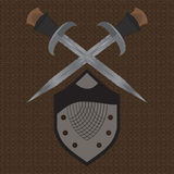 A set of double-edged swords medieval shield Royalty Free Stock Photography
