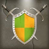 A set of double-edged swords medieval shield Stock Photography