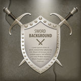 A set of double-edged swords medieval shield. Vector illustration Royalty Free Stock Photos