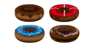 Set of doughnuts. Set of sweet doughnuts on a white background, Vector illustration Stock Photos