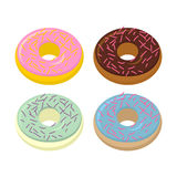 Set doughnuts. Sweets with different flavors: chocolate and vani Royalty Free Stock Image