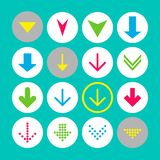 Set of 16 down arrow icons. Arrow buttons on white background in crimson, blue, yellow and transparent circle vector illustration