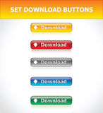 Set Download Buttons. Set Download Five Buttons. Vector EPS Stock Photography