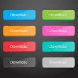 Set of download buttons Stock Photography