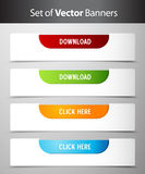 Set of download and click here buttons. Royalty Free Stock Photography