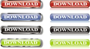 Set of download glossy buttons Royalty Free Stock Photo