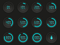 Set of downloading buttons Stock Photo