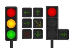 Set DOWODZENI światła ruchu z strzałkowatymi światłami ruchu Obraz Stock