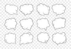 Set of dozen vector talking bubbles with white fills and transpa Stock Photos