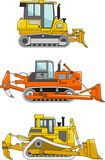 Set of dozers isolated on white background in flat Stock Images