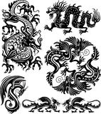Set of dragon. Set of black and white decorative dragons Stock Images