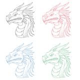 Set of dragon head. Isolated on a white background Royalty Free Stock Image