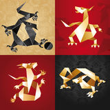 Set Dragon Origami, folded paper. Vector Stock Photos