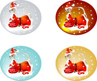 Set of Dragon Santas Stock Images