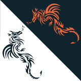 Set dragon tattoo or emblem Traditional Chinese Asian style. The Royalty Free Stock Photo