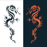 Set dragon tattoo or emblem Traditional Chinese Asian style. The Stock Image