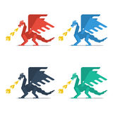 Set of dragons with fire Stock Photography
