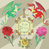 Set with dragons, roses and vintage frame Royalty Free Stock Photo
