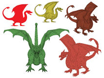 Set with dragons Royalty Free Stock Images