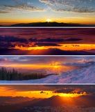 Set of dramatic sunset and sunrise in mountains. Amazing colorfu Royalty Free Stock Photo
