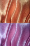 Set of 2 draped satin backgrounds - peachy and lilac stock image