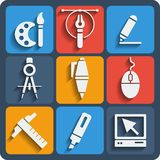 Set of 9 draw web and mobile icons. Vector. Royalty Free Stock Images