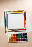 Set for drawing and blank sheets of papers Stock Photos