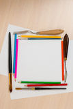 Set for drawing and blank sheets of papers Royalty Free Stock Image