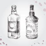 Set of drawing bottle. Royalty Free Stock Photos