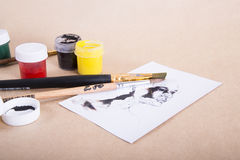 Set for drawing. Brushes and paints for drawing, different colors Stock Photography