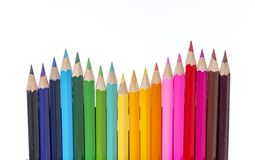 Set of drawing color pencils with copy space Royalty Free Stock Photos