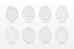 Set of drawing easter eggs - doodle style. Ornamental design.  Royalty Free Stock Images