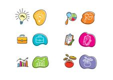 Set of drawing finance stickers icon Royalty Free Stock Photos