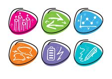 Set of drawing finance stickers icon. Carton design style Stock Photos