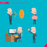 Set of drawing flat character style, business concep ceo activities - hit, piggy bank, Consulting, farewell Stock Photos
