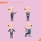 Set of drawing flat character style, business concept bald boss activities - introducing, confidence, office worker, communication Royalty Free Stock Photos