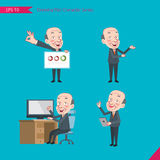 Set of drawing flat character style, business concept bald boss worker activities - presentation, ok sign, counsel Stock Photo