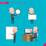 Set of drawing flat character style, business concept ceo activities - banner, whiteboard, computing, telemarketing, introduction.  Royalty Free Stock Photo