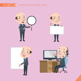 Set of drawing flat character style, business concept ceo activities - banner, whiteboard, computing, telemarketing, introduction Royalty Free Stock Photography