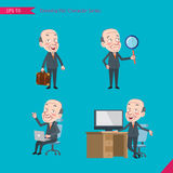 Set of drawing flat character style, business concept ceo activities. Businessman, research, office worker, counselling Stock Images