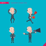 Set of drawing flat character style, business concept ceo activities - Disappointment, notice, boxing, confidence, Competition Royalty Free Stock Photos