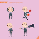 Set of drawing flat character style, business concept ceo activities - Disappointment, notice, boxing, confidence, Competition Stock Photography