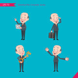 Set of drawing flat character style, business concept ceo activities. Introducing, greeting, masterkey, global business Stock Images