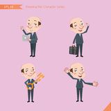 Set of drawing flat character style, business concept ceo activities - introducing, greeting, masterkey, global business Stock Photos