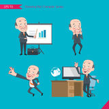 Set of drawing flat character style, business concept ceo activities. Presentation, Surprised, ok sign, troubleshooter, boss Royalty Free Stock Photo