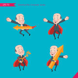 Set of drawing flat character style, business concept ceo activities - rising, hero, solve problem, master key Royalty Free Stock Images