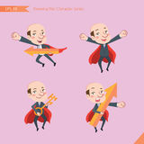 Set of drawing flat character style, business concept ceo activities - rising, hero, solve problem, master key Royalty Free Stock Photos