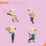 Set of drawing flat character style, business concept ceo activities. Tablet device, flying, explain, counsel Stock Image